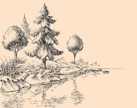 Disegno della mano di flusso di fiume. Fondo della natura della sponda del fiume, degli alberi e della vegetazione Vettoriali