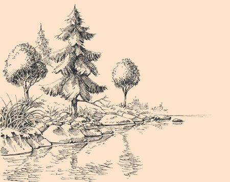 River flow hand drawing. River bank, trees and vegetation nature background Ilustracje wektorowe