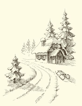 Nature in winter season, pine trees and a house in the snowy landscape