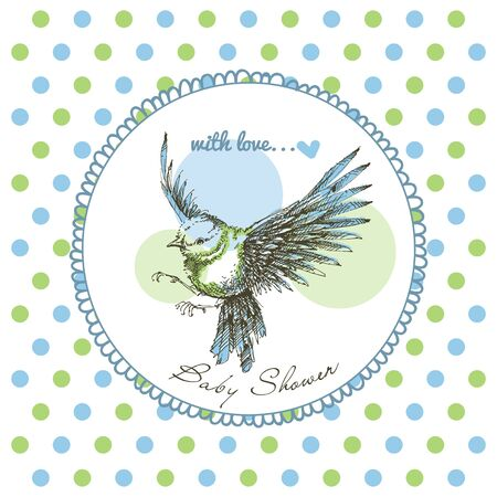 Baby shower, cute bird frame over green and blue polka dot pattern
