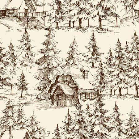 Wooden lodge in the pine forest. Idyllic landscape, holidays retreat seamless pattern