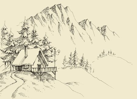 Winter alpine landscape and winter holiday cabin sketch. Hand drawing background for tourism