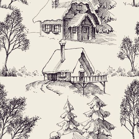 Wooden cabin in the forest graphic seamless pattern Illustration