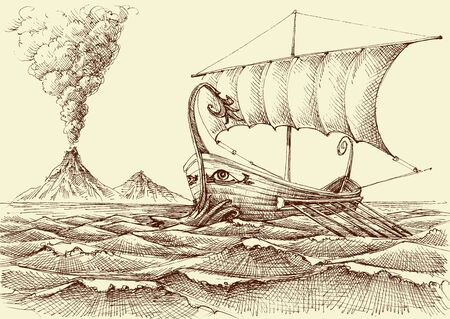 Galley ship on sea hand drawing, a volcano eruption in the background