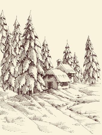 A cabin in the pine forest in winter season hand drawing