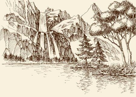 Wasserfall in der Berglandschaft Vektorgrafik
