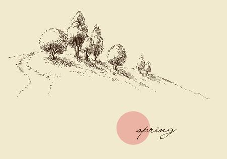 Spring nature wallpaper, trees on a hill sketch Illustration