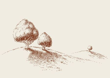 Quiet place in nature wallpaper, simple trees sketch, minimalistic life style concept