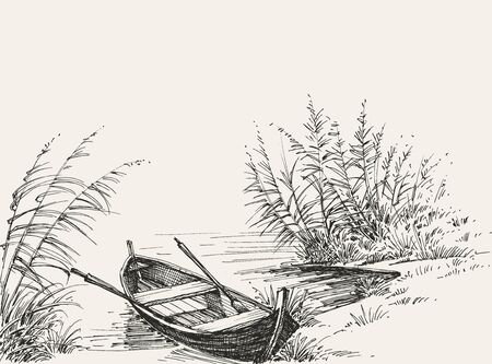 Empty boat on shore on the lake, relaxation in nature sketch