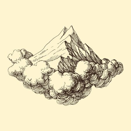 Mountains ranges in the clouds hand drawing Ilustração