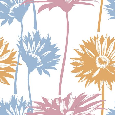 Modern floral seamless pattern, daisy flowers silhouette on white