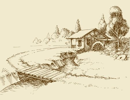 Water mill landscape, small river and wooden bridge hand drawn artistic illustration