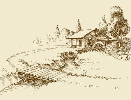 Wassermühlenlandschaft, kleiner Fluss und Holzbrücke handgezeichnete künstlerische Illustration