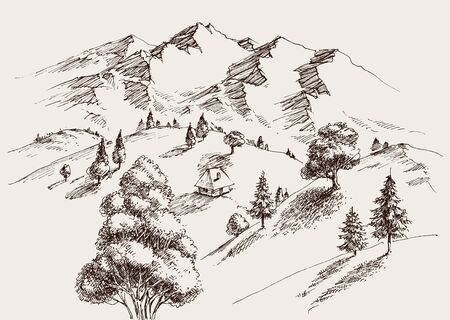 Nature drawing, mountains landscape, an isolated house on the valley