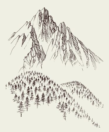 Nature drawing, mountains ranges and alpine forest sketch
