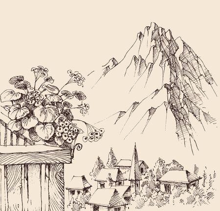 Mountain village view from balcony, alpine landscape sketch