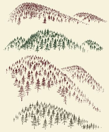 Mountain forest vector set. Hand drawn coniferous woods peaks