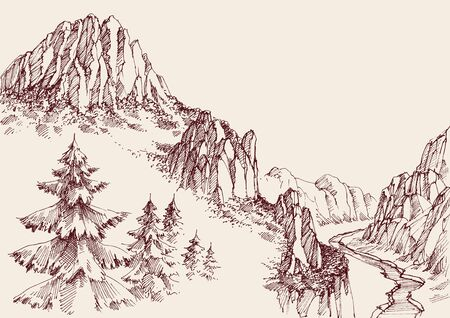 Alpine sketch background. Pine tree forest, a river in the valley and mountain ranges