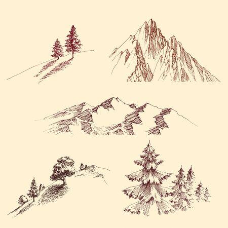 Nature design elements set. Mountain peaks, slopes, hills, pine trees