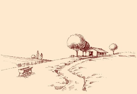 Idyllic rustic landscape sketch, the road to a small farm hand drawing