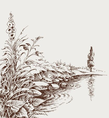Lake shore, river bank artistic hand drawing. Relaxing in nature background
