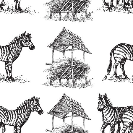 Zebra seamless pattern, animal hand drawn print