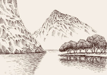 Mountain river landscape. Hand drawn vector illustration of mountain ranges and smooth flowing waters