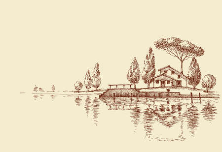 A house by the lake, simple architecture design, sketch wallpaper