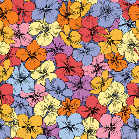Small hydrangea flowers stems seamless pattern in bright colors 向量圖像