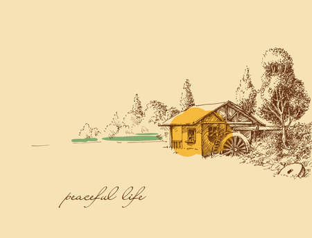 Countryside peaceful life hand drawing. Old small house, a watermill idyllic landscape Illustration