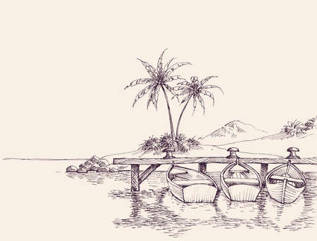 Wharf drawing, empty boats and palm trees on sandy beach Illusztráció