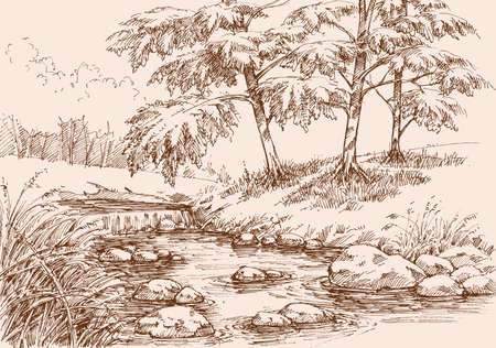 Waterfall on a river in alpine landscape hand drawing Ilustración de vector