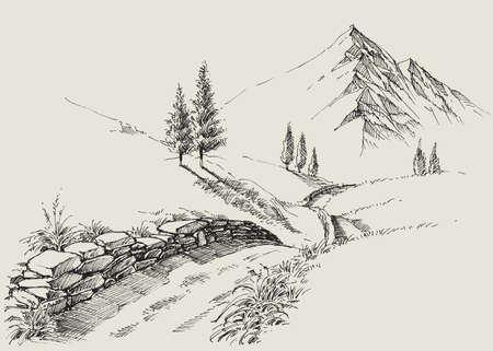 A narrow footpath in the mountains, alpine relaxing landscape hand drawing Ilustración de vector