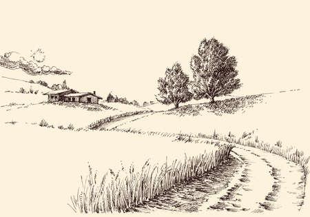 A path to a farm landscape hand drawing Vektorové ilustrace