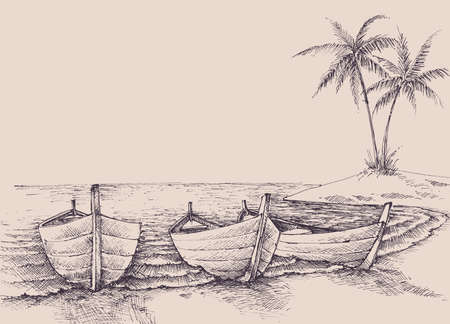 Empty boats on sea shore, relaxation in nature vector hand drawing
