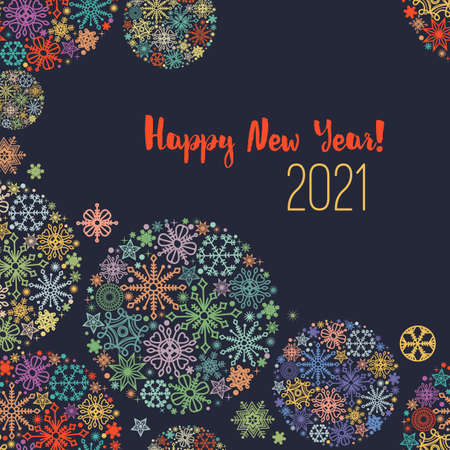 New year greeting card, colorful snowflakes over dark background