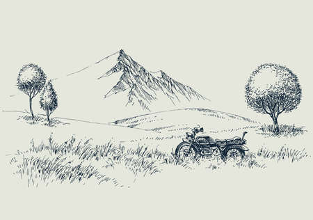 Mountains wide wild landscape and a motorcycle hand drawing