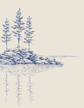 Pine trees on a rocky landscape. Trees reflection in the water artistic hand drawing Ilustrace