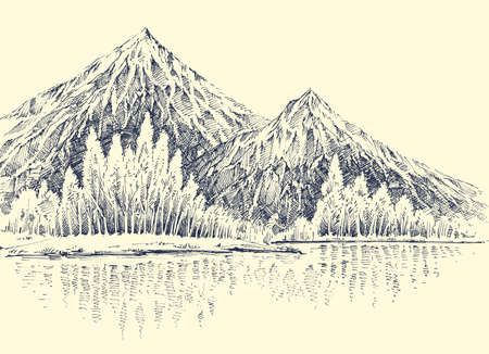 Lake in the mountains, alpine forest  landscape sketch