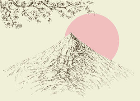 Mountain peaks, altitude landscape, cherry blossom branch