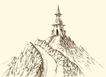 Watch tower on mountain peak hand drawing