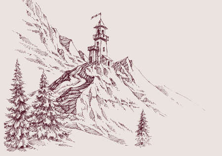 A castle on top of the mountains hand drawing