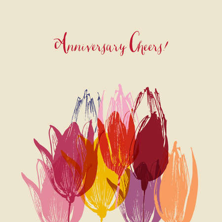 Colorful tulip flowers border decoration, anniversary greeting card 向量圖像
