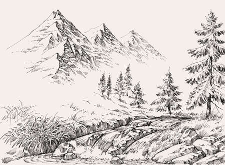 River in the mountains and pine trees landscape