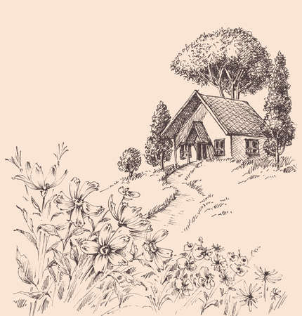 Small wooden house on a hill landscape Vettoriali