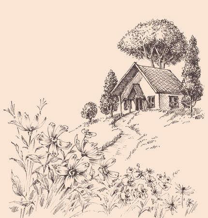 Small wooden house on a hill landscape Ilustración de vector