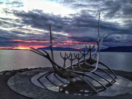 vikings: Vikings Bateau Monument Banque d'images