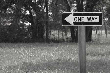 Directional sign points toward a path