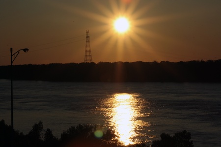 Landscape sunset over the Mississippi River photo