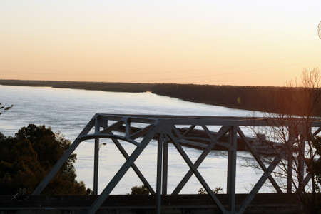mississippi river: Horizon of sunset over Mississippi River Stock Photo